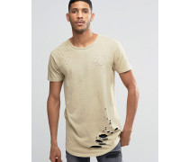 T-Shirt im Used-Look Steingrau