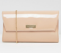 Clutch in Lack-Optik Beige