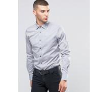 Schmal geschnittenes Hemd mit Kontrastknöpfen Grau