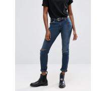 Kimmi Verkürzte Boyfriend-Jeans mit Rissen in dunklem Grace-Stonewash Blau