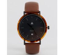 Uhr mit Schildpatt-Acetat und braunem Band Braun
