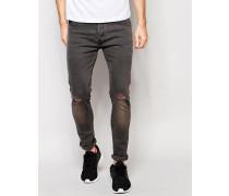 Enge Jeans mit Knierissen in Anthrazit Grau