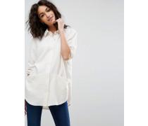 Oversized-Hemd aus Twill mit Taschendetail Beige