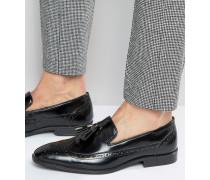 Loafer im Budapester-Design aus schwarzem Leder mit Quasten Schwarz