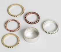Set strukturierter Ringe Mehrfarbig