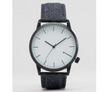 Armbanduhr mit Denimband Blau