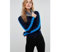 Flauschiger Pullover in Blockfarben Blau