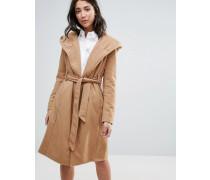 Langer Mantel mit Gürtel Beige