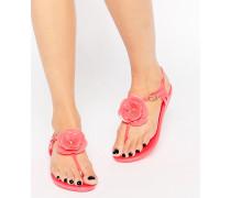 Flache Sandalen mit Steg und Blume Rosa