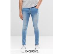 Brooklyn Supply Co Dyker Sehr enge Jeans mit abgeschnittenem Saum und heller Distressed-Waschung Blau
