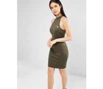 Figurbetontes, hochgeschlossenes Kleid mit Ösen Grün