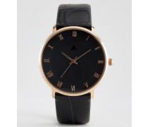 Uhr mit Armband in Kroko-Optik Schwarz