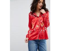 Hochwertige Pyjamabluse aus Satin mit Stickerei Rot