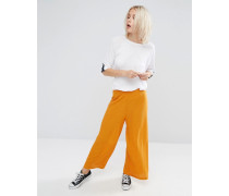 Strukturierte Jersey-Hose mit weitem Bein Mehrfarbig