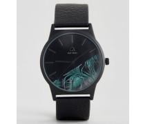 Armbanduhr mit Palmen-Aufdruck Schwarz