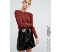 Kurzer Pullover mit Rippung Kupfer