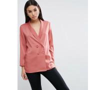 Premium Lange, zweireihige Pyjamabluse Rosa