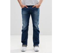 Larkee 853U Gerade geschnittene Jeans in dunkler Waschung Blau