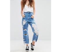 Jeans mit weitem Bein, Netzstoffeinsätzen und Rissen in Laufmaschenoptik Blau