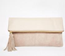 Clutch aus Leder und Wildleder mit Umschlagverschluss Rosa