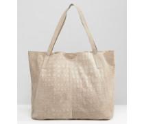 Shopper-Tasche aus Wildleder mit Prägung Rosa