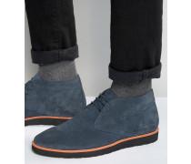 Chukka-Stiefel aus blauem Wildleder Blau
