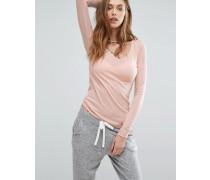 Langärmliges Shirt mit V-Ausschnitt Rosa