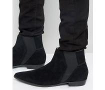 Chelsea-Stiefel aus Wildleder Schwarz