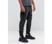 Cargo-Hose aus Wolle in Biker-Stil mit elastischen Bündchen Grau