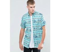 Kurzärmliges, schmales Hemd mit Muster Blau