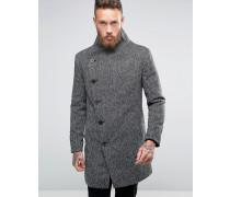 Mantel mit asymmetrischen Knöpfen Schwarz