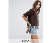 Vintage Kurzes Oversize-Sweatshirt im Vintage-Look mit Bommelverzierung Braun