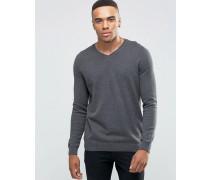 Grauer Pullover mit V-Ausschnitt Grau