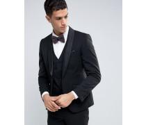 Schwarze Smoking-Anzugjacke in schmaler Passform Schwarz