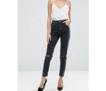 Farleigh Schmal geschnittene Mom-Jeans mit hoher Taille in verwaschenem Schwarz mit Rissen am Knie Schwarz
