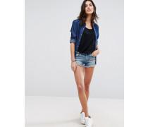 Korallefarbene Denim-Shorts im Used-Look Blau