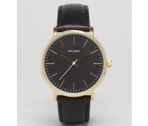 Uhr mit schwarzem Armband aus Leder Schwarz