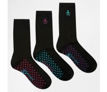3er-Pack Socken in Schwarz Schwarz