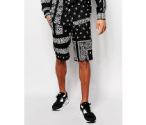 Shorts mit Bandana-Print Schwarz