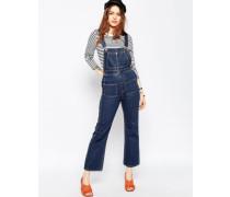 Kurze Jeans-Latzhose mit Schlag Blau