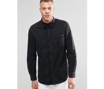 Klassisches Jeanshemd in verwaschenem Schwarz Schwarz