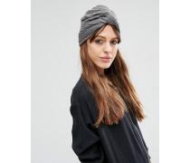 Gerippte Turban-Mütze Grau