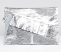 Leder-Clutch mit Rüschen in Metallic Silber