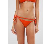 Mix and Match Brasilianischer Bikinislip mit Netzeinsatz, Rüschen und Schnürung Orange