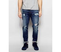 Mick Jeans mit Zierrissen in Worn Flagstone-Waschung Blau