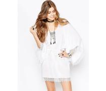 Sommerkleid mit Häkelbesatz Weiß