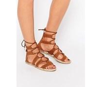 Espadrille-Sandalen zum Schnüren Bronze
