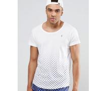 Strand-T-Shirt mit U-Ausschnitt und gemustertem Saum Kombiteil Weiß