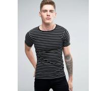T-Shirt mit Streifen in Schwarz Schwarz