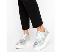 Flache Sneaker Silber